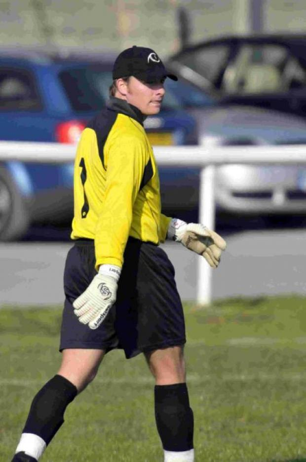 Dorset Echo: PENALTY SAVED: Stand-in keeper Lee Cuff