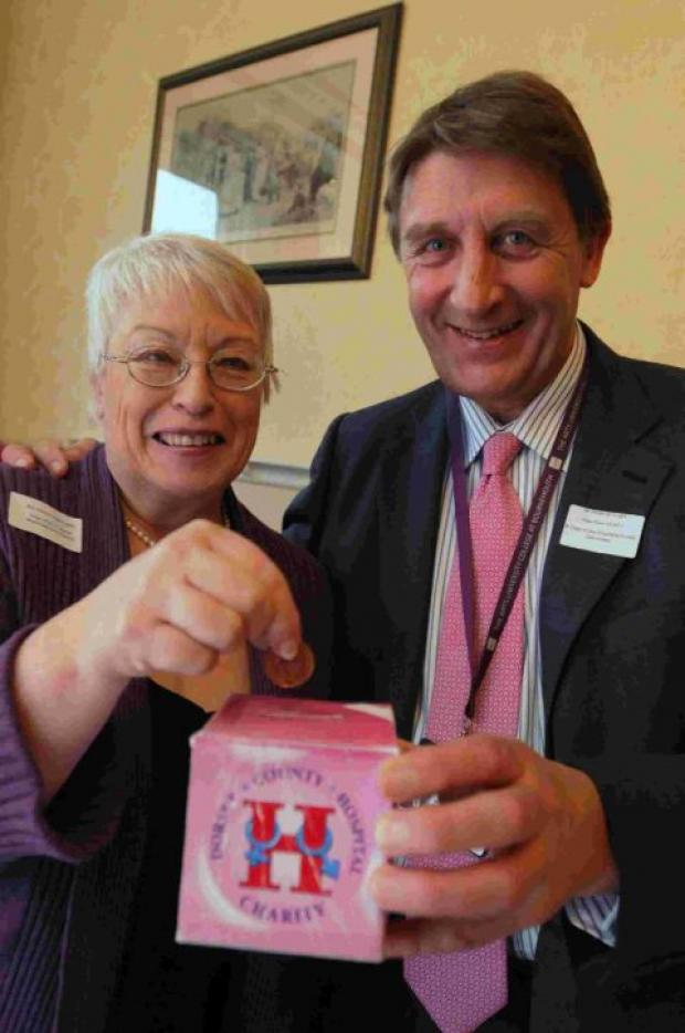 GOOD CAUSE: Wendy Nightingale at the launch of the £1 appeal with Roderick Knight, vice-chairman of the DCH NHS Foundation Trust