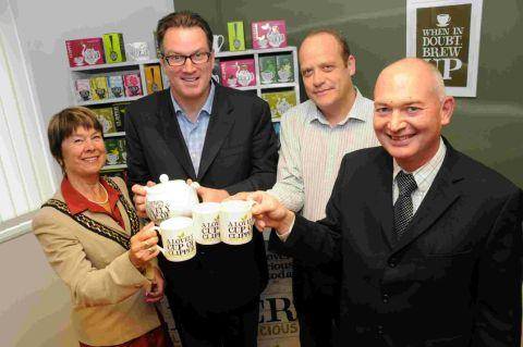JUST OUR CUP OF TEA: Coun Gillian Summers, Patrick Cairns, Mark Bagwell and Ian Doyle toast the £1m Clipper Teas investment