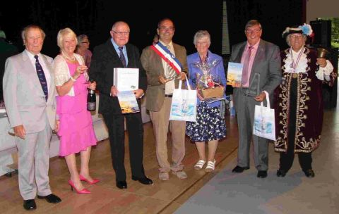 FRENCH FANCY: Former Chairman of the Weymouth Twinning Committee Ted Nicklen,  Chairman of the Weymouth Twinning Committee Cath Irving,  Chairman of the Louviers Twinning Committee Georges Veyrat,  Mayor of Louviers Franck Martin, Mayor of Weymouth & Port