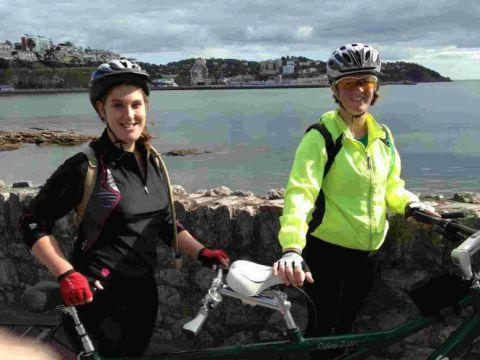 ON OUR BIKES: Cyclists Pamela and Clare Sell
