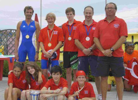DORSET'S FINEST: The eight members of Dorset Pentathletes with coach Mick Flaherty, right