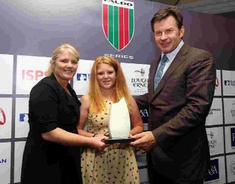 FALDO PRIZE: Sophie Keech receives her trophy from Sir Nick Faldo and Lynn McCool, head professional at The Lough Erne Resort