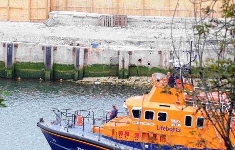 WORK IN PROGRESS: Weymouth Lifeboat passes the repair area of Weymouth ferry terminal