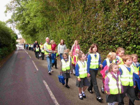 WALKING BUS: Villagers highlight the need for a footpath on route to school at Salway Ash