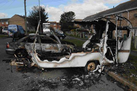 CONCERNS: A car and caravan targeted by arsonists in Littlemoor