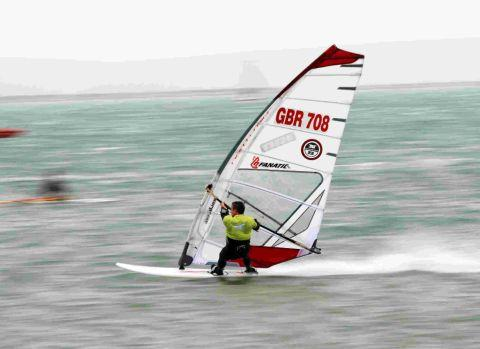 Dorset Echo: WATER SHOW: Weymouth builder Pete Young who previously won the United Kingdom speed sailing title at Speed Week