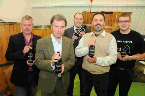 CHEERS ALL ROUND: Oliver Letwin MP visits the Piddle Brewery at the Enterprise Park, Piddlehinton with Rob Martin, Oliver Letwin, Ian Stansbie, Vic Irvine and Ashley Hewitt