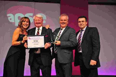 HONOURED: Presenter Carol Smillie with Peter Finney, Dorset County Council cabinet member for transport, Andrew Martin, head of Dorset Highways Operations and Robert Muir, Nu-Phalt Jetpatcher Ltd