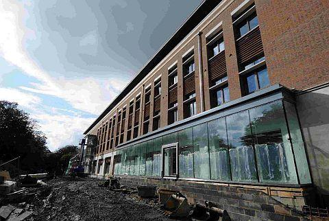 STORMY: The Charles Street development in Dorchester and, inset, yesterday's Echo