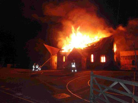 Dorset Echo: DEVASTATING: The blaze that swept through Powerstock School last September