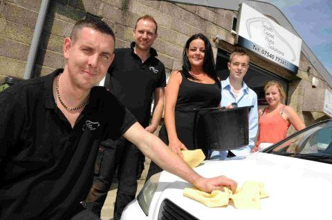 AT THE CAR WASH: Staff at South Coast Auto Solutions James Bell, Steve Reed, Kirsi Tamlin, Rob Burrows and Lucy Griffin