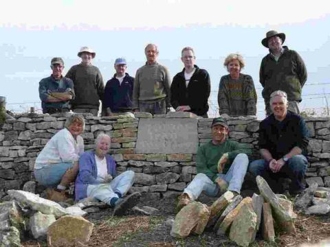 JOURNEY: Volunteers from the Dry Stone Walling Association after the final poetry stone had been laid