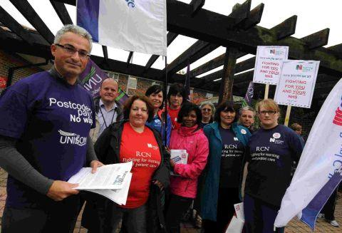 PAY ROW: Unison's Jon Dunn, left, leads a delegation at Dorset County Hospital