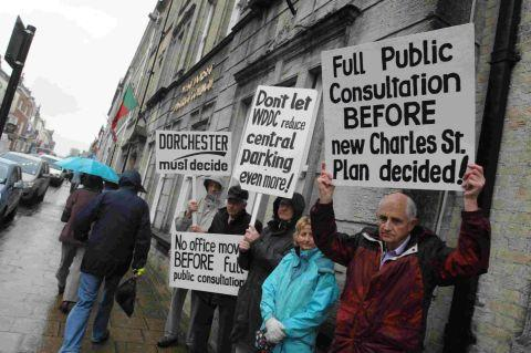 TAKING ACTION: Protests over the latest Charles Street developments ahead of this week's West Dorset District Council executive committee meeting