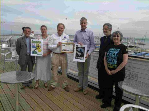 Dorset Echo: AWARDED: Ian Hobbs, area dean, Elisabeth Orrell, Fairtrade Forum, John Tweed, Richard Drax MP, Geoffrey Carey, deacon, and Margaret Naine, Fairtrade Forum