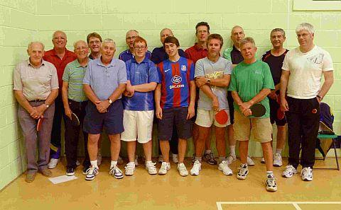 WITH BATS: Preston Table Tennis Club, back row: Warwick Brown, Dave Clegg, Peter Tucker, Tony Houghton, Eddie Chapman, Peter Stopforth and Fernando Cachola. Front: Peter Dalley, Stan Smith, Patrick Rod, Callum Tucker, Josh Harman, Mark Wilding, Ian Drummo