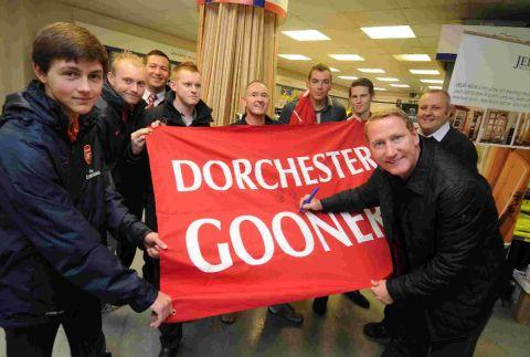 VERY SPORTING: Arsenal football legend Ray Parlour opens the new Gibbs and Dandy store in Dorchester