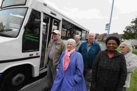 Councillor Kate Wheller and residents at a bus stop in Doncaster Road, Wyke Regis