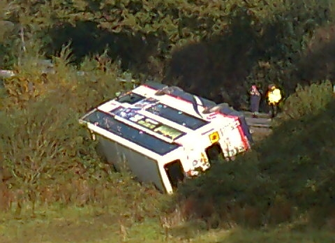 VIDEO: Thirty hurt as double-decker bus full of students overturns on A350