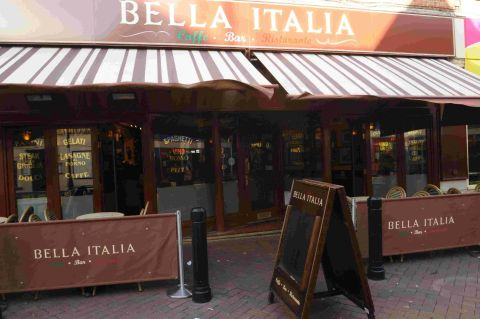 SMOKE DAMAGED: Fire broke out at Bella Italia in St Mary Street, Weymouth