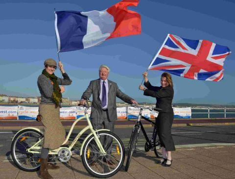 CONTINENTAL DRIFT: Isabelle Parfitt,  Brittany Tourist Board, Peter Finney,  Dorset County Council and Jenny McGee, Visit England, at the Cycle West