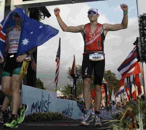 BIG FINISH: Andy Sloan at the finishing line in Hawaii