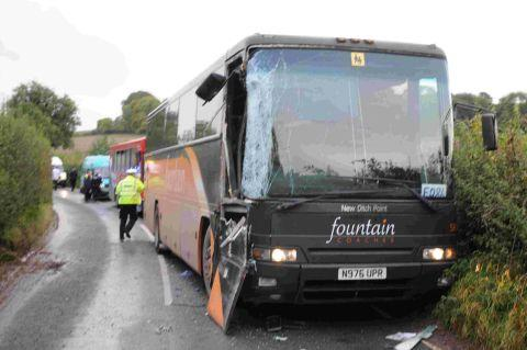 ROAD HORROR: The scene after a collison between two coaches carrying schoolchildren near Cerne Abbas