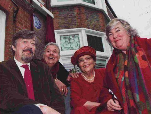 ON THE WALL: Gabrielle Markes, second right, unveils a blue plaque at her father's former home in London with half-brother Chris Hutchinson, second left, Stephen Fry and Hutch biographer Charlotte Breese
