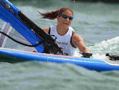 OLYMPIC SAILING: Local girl Bryony Shaw takes a dip