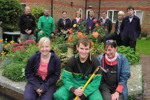 GARDEN HELPERS: Steph Addison, James Lynn and Jenny Stovell with KIngston Maurward tutors and other students at Southfield House
