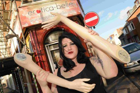 BREAK-IN VICTIM: Victoria Stillwell of Erotica-belle in Weymouth, with what's left of their mannequin