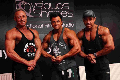 british bid: Simon Burdett, Humphrey Ellis and Sean Ferguson at Physiques & Shapes Gym, Dorchester