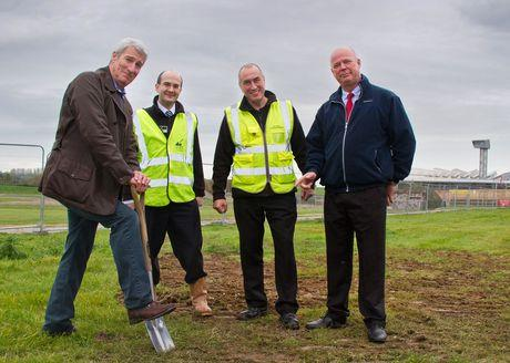 Jeremy Paxman hard at work, (from left) watched by Museum Director Richard Smith, Facilities Manager Roy Hicks and Dawnus Construction Project Manager Stewart Spearman.