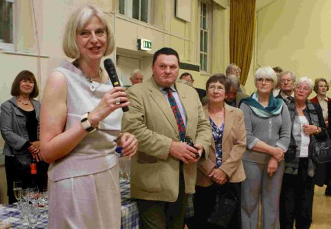 WELCOME: Home Secretary Theresa May meets party members at a Tory function in Beaminster