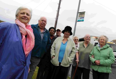 ON THE BUSES: Councillor Kate Wheller with residents who are concerned over the possible loss of the Doncaster Road route through Wyke Regis
