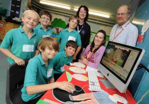 SCREEN DREAM: Alistair Nisbet, Sharon Hayden and Emma Hibberd with Prince of Wales pupils