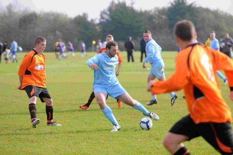 MAXTED MAGIC: Dolphin's Rob Maxted in his side's 5-1 victory over Weymouth Athletic