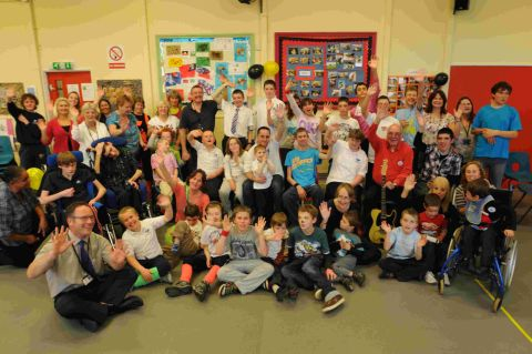 ON THE MOVE: The farewell party at Mountjoy School, with headteacher James Franzen, front left