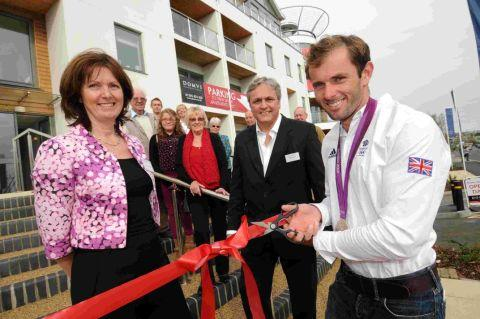 OFFICIALLY OPEN: Olympic silver medallist Nick Dempsey with Polly and Neil Greenwa