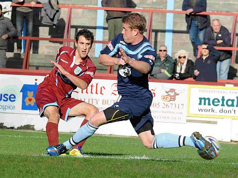 FORD STRIKES: Mark Ford scores to fire the Terras ahead