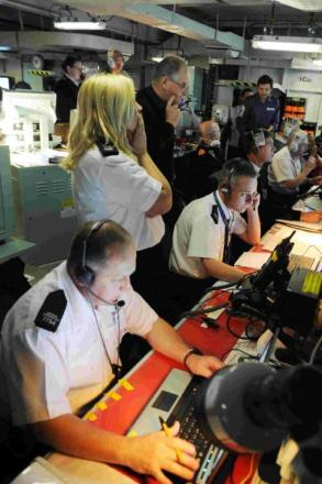 IN CONTROL: The operations room on board HMS Bulwark