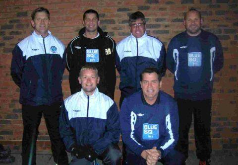 COUNTY TOWN COACHES: Back row, left to right: Brian Churchill, Alex Browne, Matt Lucas, Chris Wilson. Front: Terry Oldrid, Scott Symes