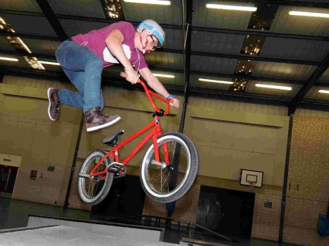 Doing some stunts at the BMX Jam