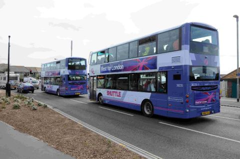 BUSY SERVICE: Packed park and ride buses leaving the Swannery transit site