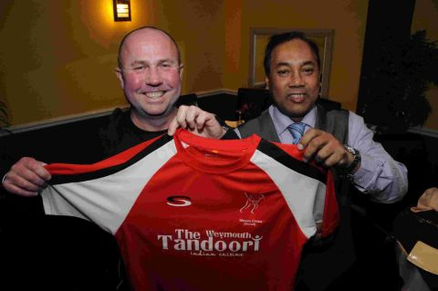 RED-HOT DEAL: Owen Newton, director at Wessex Cricket, and Weymouth Tandoori's Jamal Uddin
