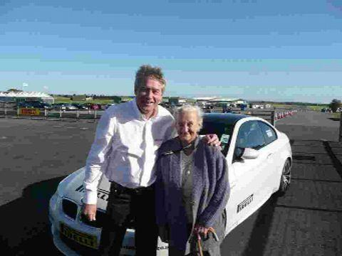 SUPERGRAN: Kay Wakely from Beaminster with racing driver and TV presenter Tiff Needell at Thruxton