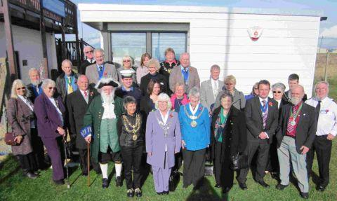 COASTAL VISIT: Civic leaders from across Dorset at Portland Bill's National Coastwatch Institution with Mayor of Portland Sylvia Bradley, centre, and station manager, Geoff Peters, far right