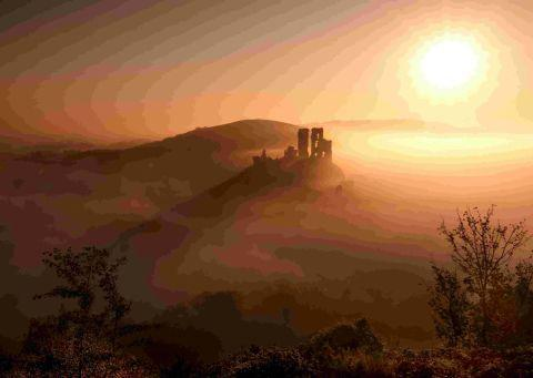 TIMELESS VIEW: Corfe Castle on a misty morning by Andrew Bannister