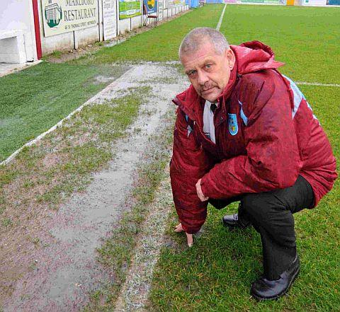 WASHED OUT: Terras' chairman Nigel Biddlecombe at a sodden Bob Lucas Stadium